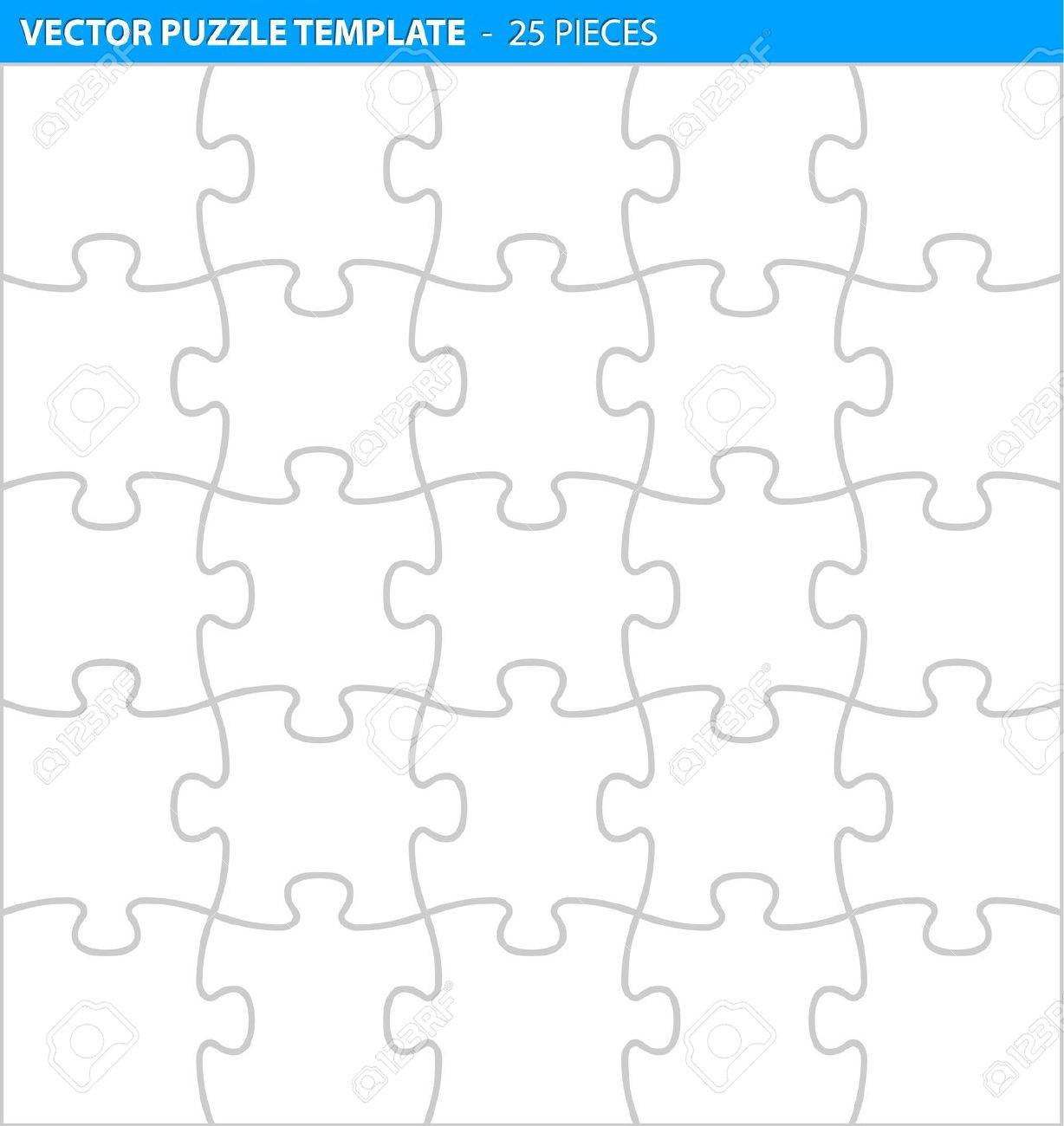 Complete Puzzle / Jigsaw Template For Print (25 Pieces) Royalty Free - Print Your Puzzle