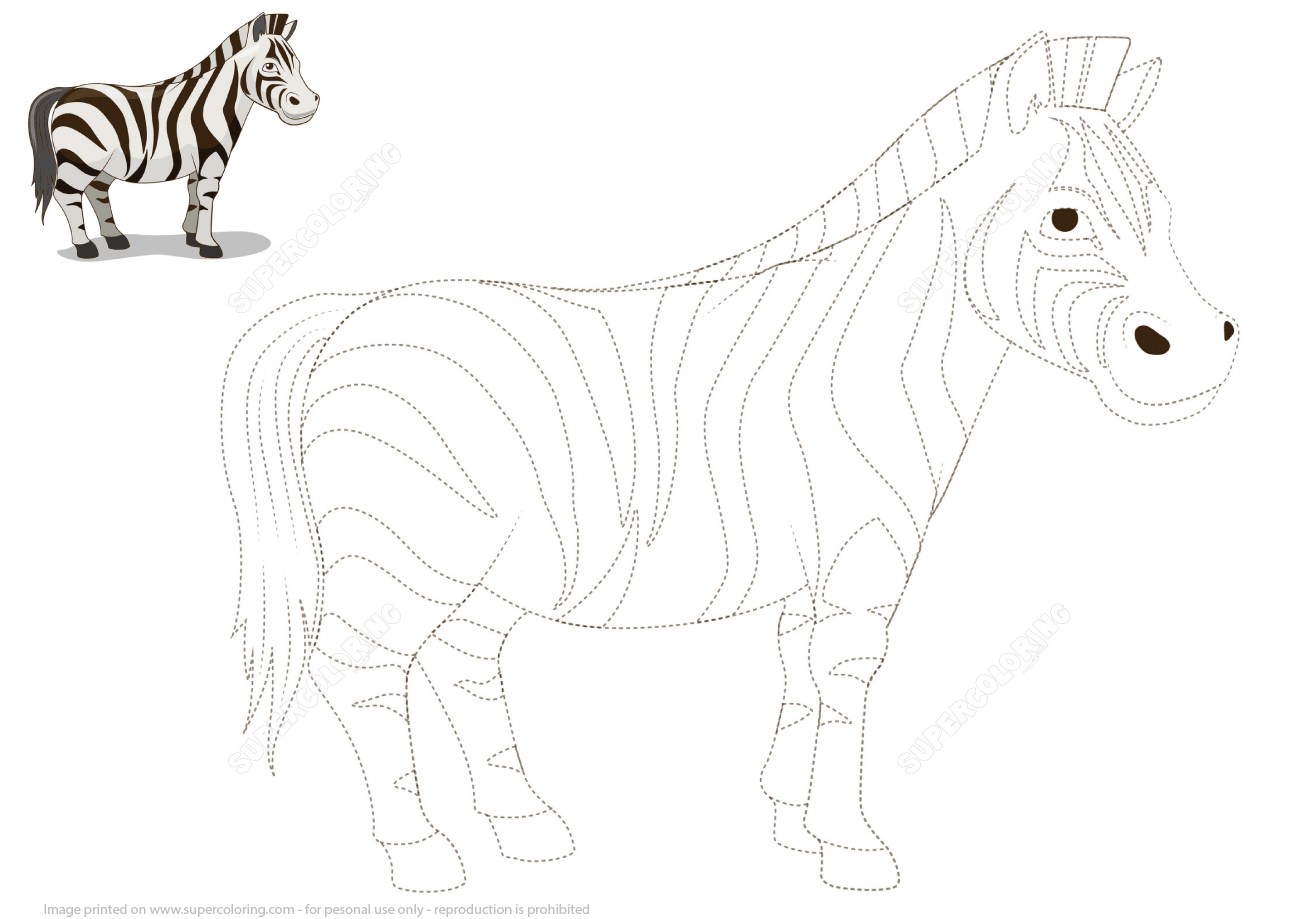 Connect The Dots To Draw A Zebra | Free Printable Puzzle Games - Printable Zebra Puzzle