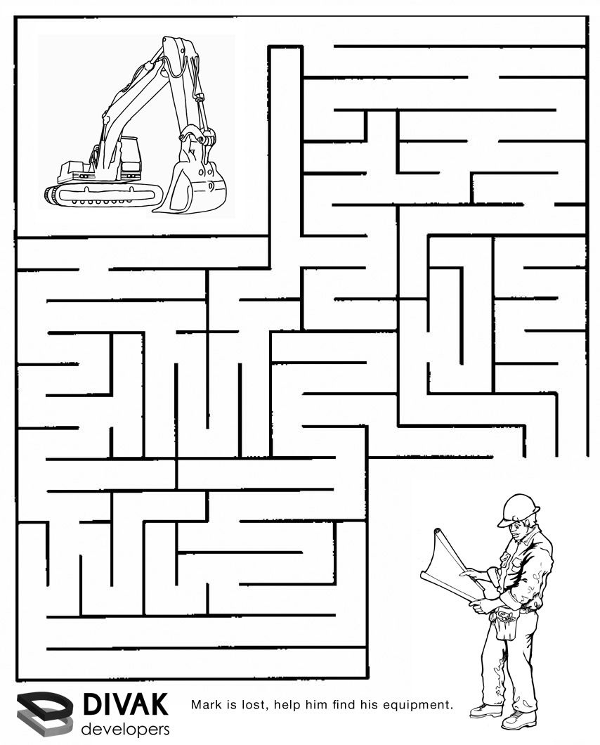 Construction Maze   Summer Camp Construction   Mazes For Kids - Printable Puzzles And Mazes