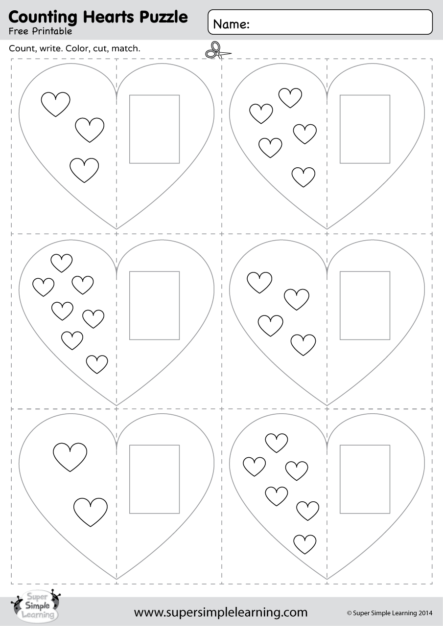 Counting Hearts Puzzle - Super Simple - Printable Puzzle Heart