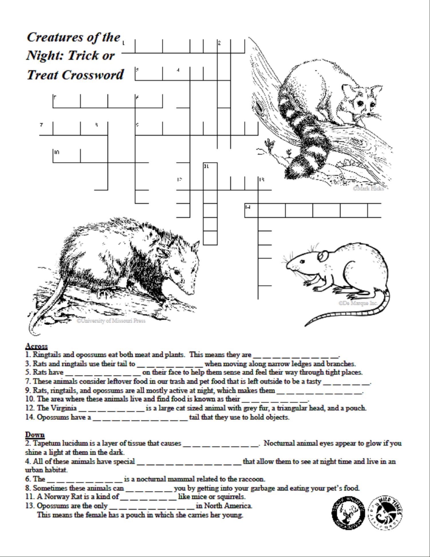 Creatures Of The Night Crossword Puzzle - Texas Wildlife Association - Wildlife Crossword Puzzle Printable