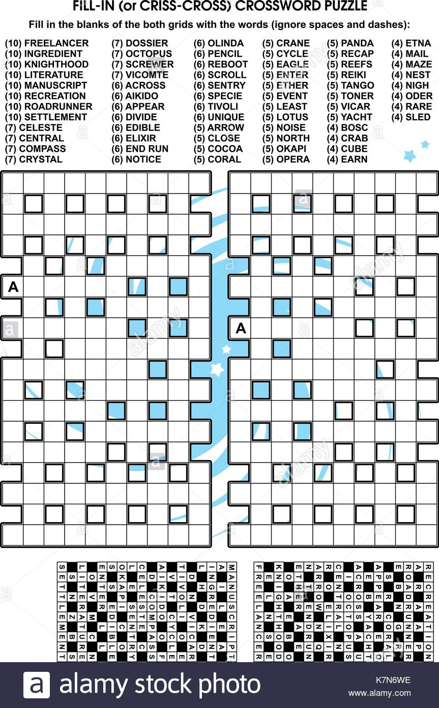 Criss-Cross Word Puzzle - Fill In The Blanks Of The Crossword Puzzle - Printable Blank Crossword Puzzle Grid