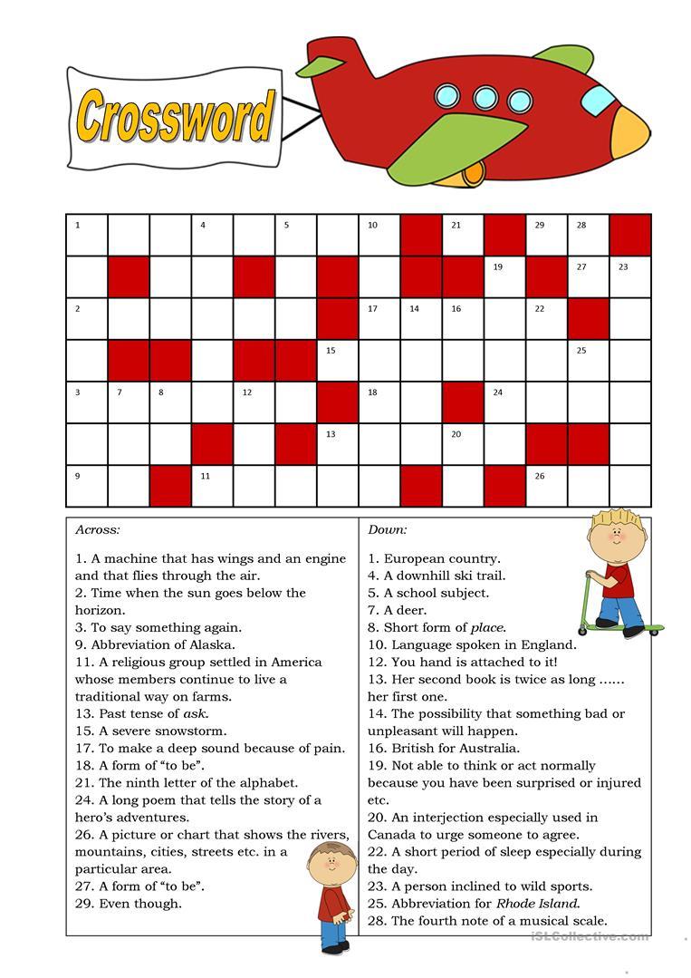 Crossword (Intermediate) Worksheet - Free Esl Printable Worksheets - Intermediate Crossword Puzzles Printable