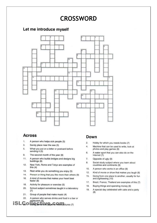 Crossword - Let Me Introduce Myself | Crosswords | Crossword - Crossword Puzzles Vocabulary Printable
