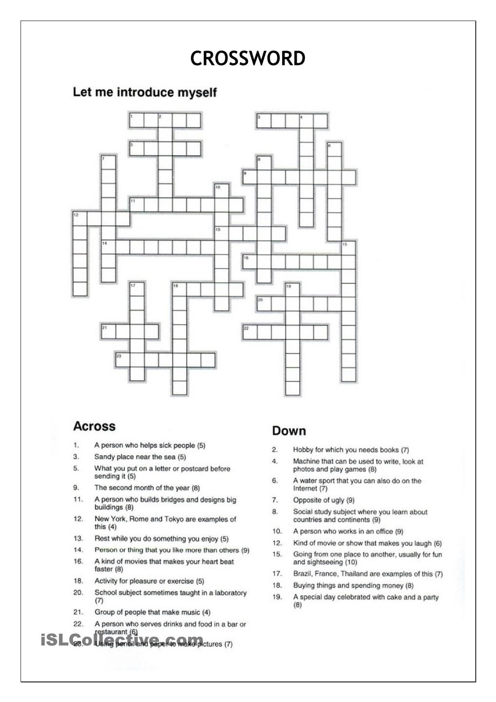Crossword - Let Me Introduce Myself | Crosswords | Crossword - Printable Crossword Puzzles Spanish