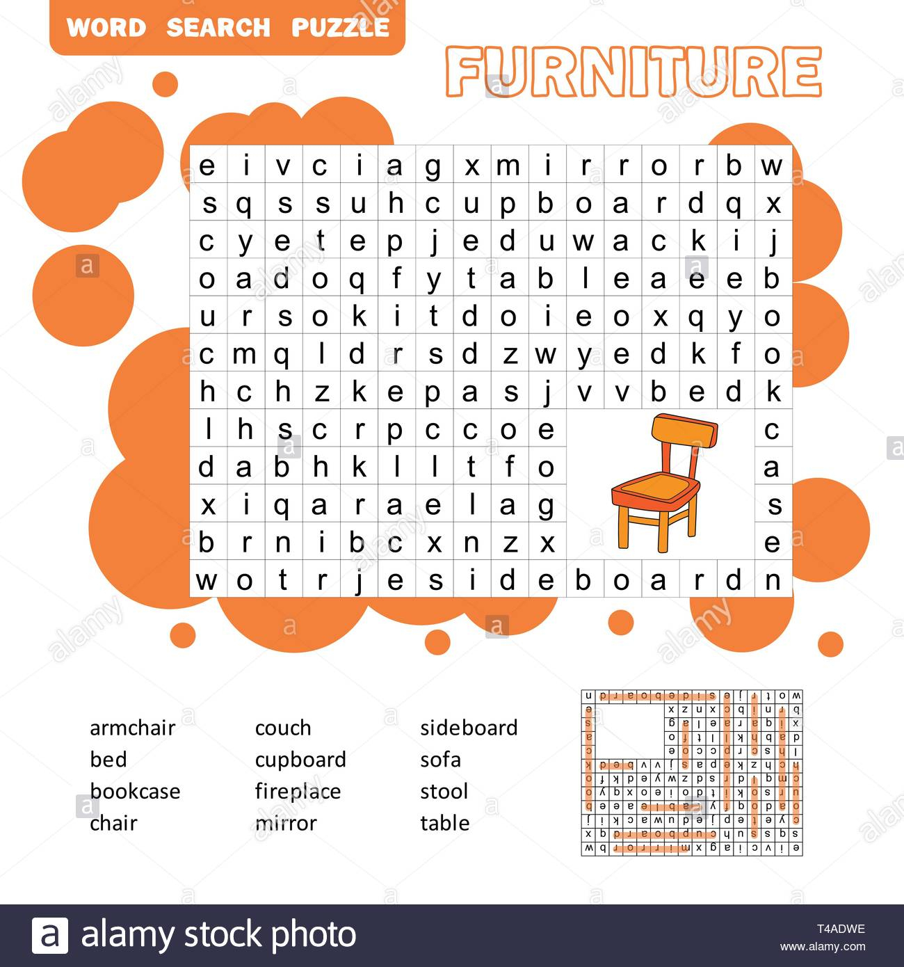 Crossword - Living Room Furniture - Learning English Words. Word - Printable Crosswords For Learning English