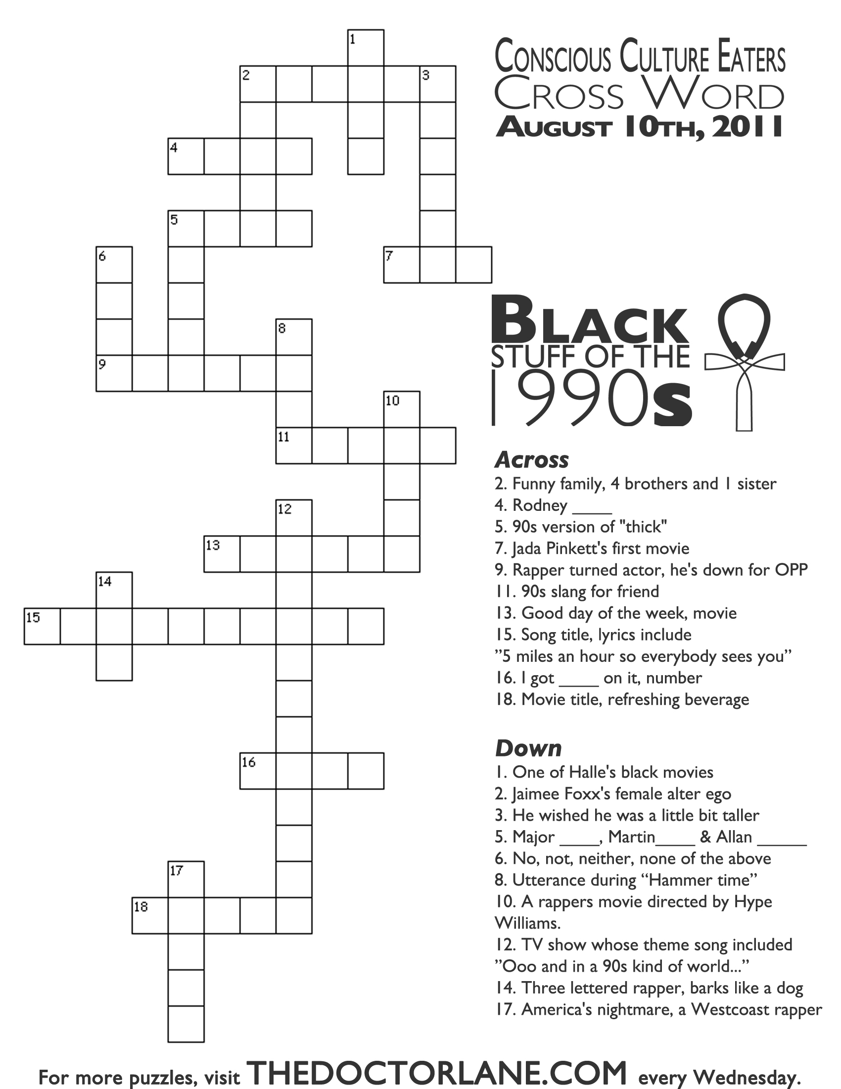 Crossword Puzzle: Black Stuff From The 90S – Nikki Lane, Ph.d - 90S Crossword Puzzle Printable
