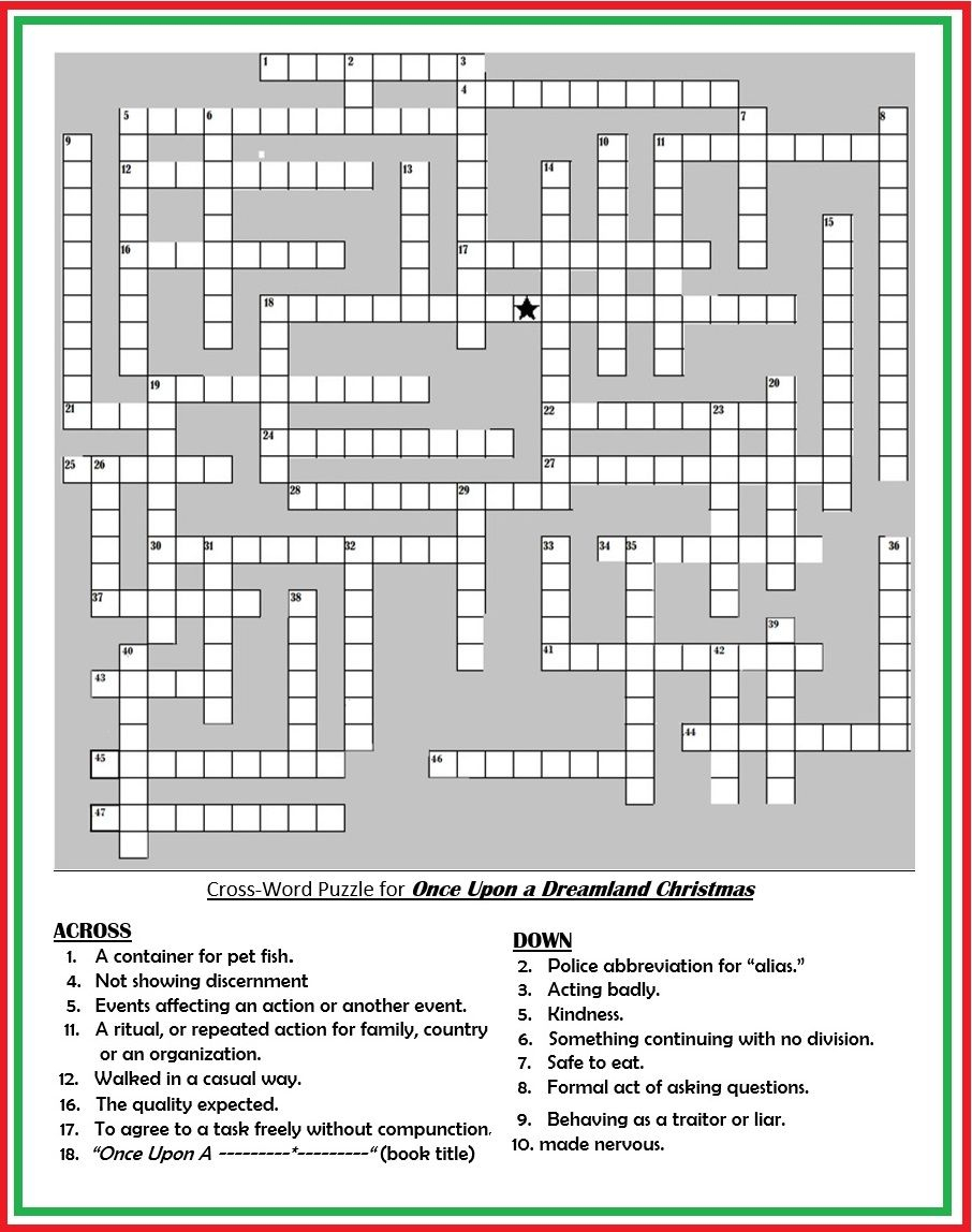 "Crossword Puzzle For Patches Adventure Book: ""once Upon A Dreamland - Printable Premier Crossword Puzzle"