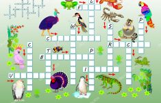 Crossword Puzzle Game Funny Animals Educational Page Children Study – Printable Cartoon Crossword Puzzles