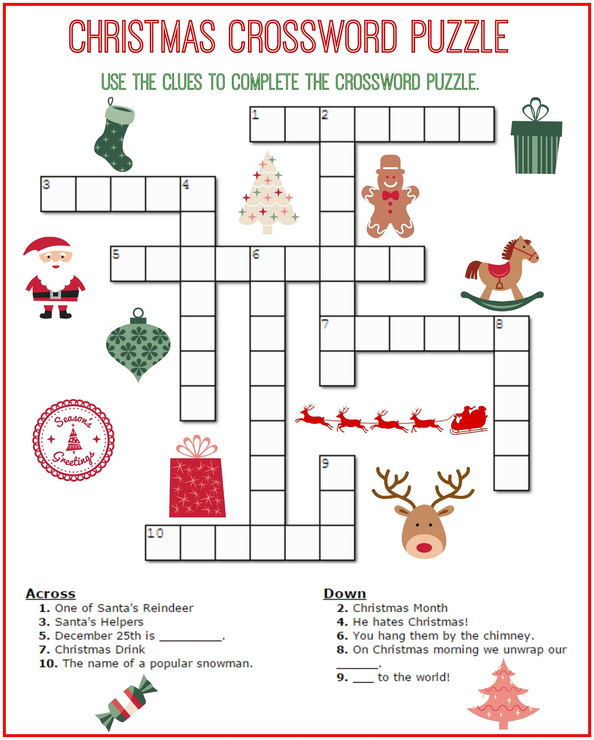 Crossword Puzzle Kids Printable 2017 | Kiddo Shelter - Printable Crossword Puzzles For Middle Schoolers