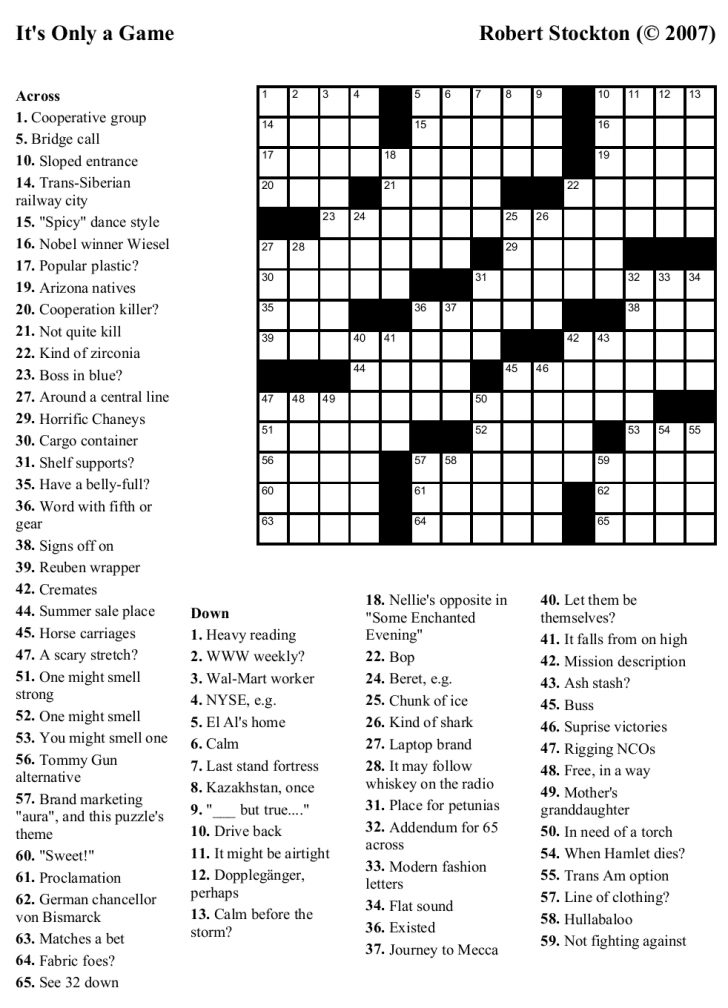Printable Crossword Puzzle With Answer Key