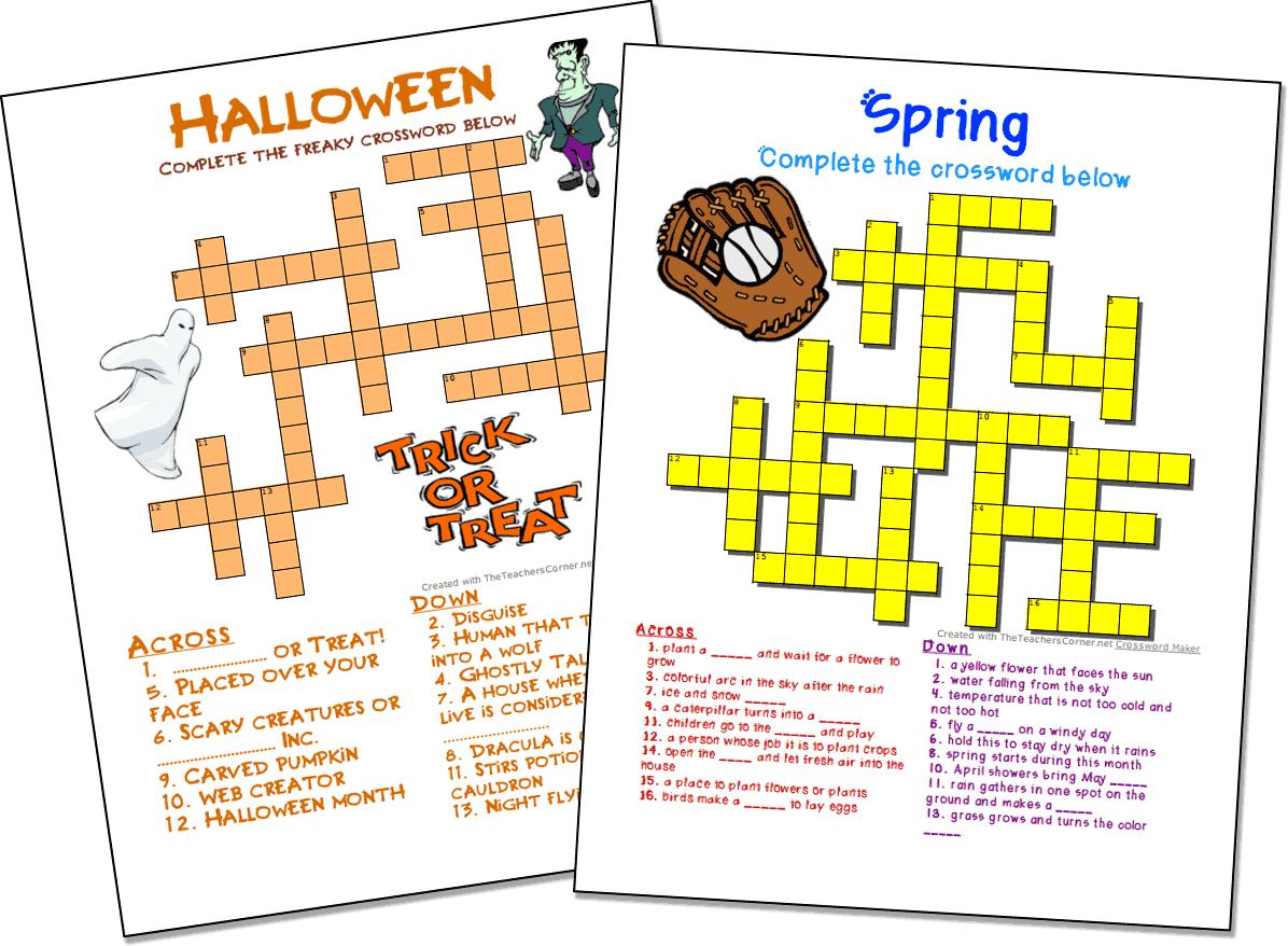 Crossword Puzzle Maker | World Famous From The Teacher's Corner - Custom Crossword Puzzle Printable