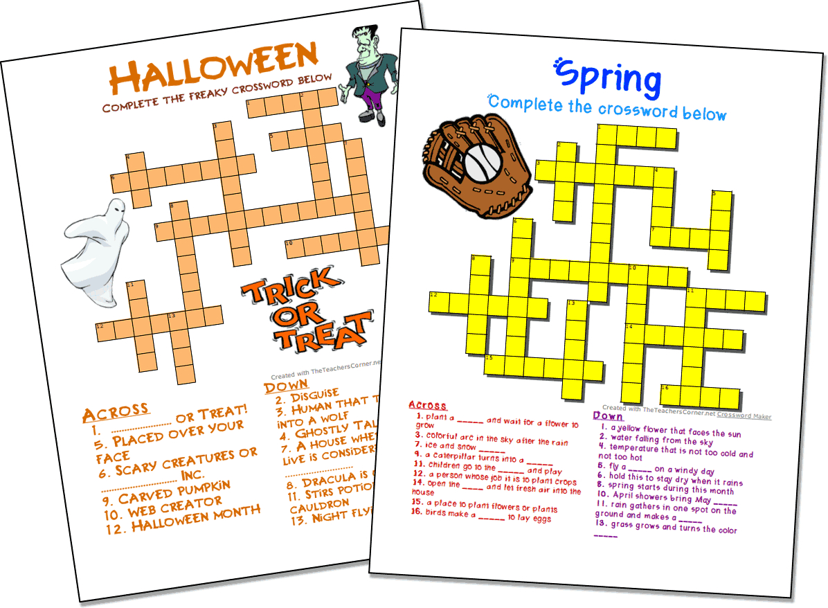 Crossword Puzzle Maker   World Famous From The Teacher's Corner - Make Your Own Printable Crossword Puzzles