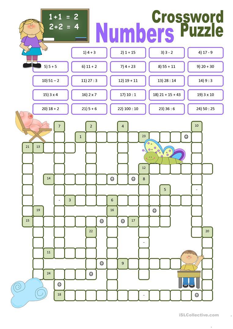 Crossword Puzzle Numbers Worksheet - Free Esl Printable Worksheets - Printable Crossword Puzzle For Primary School