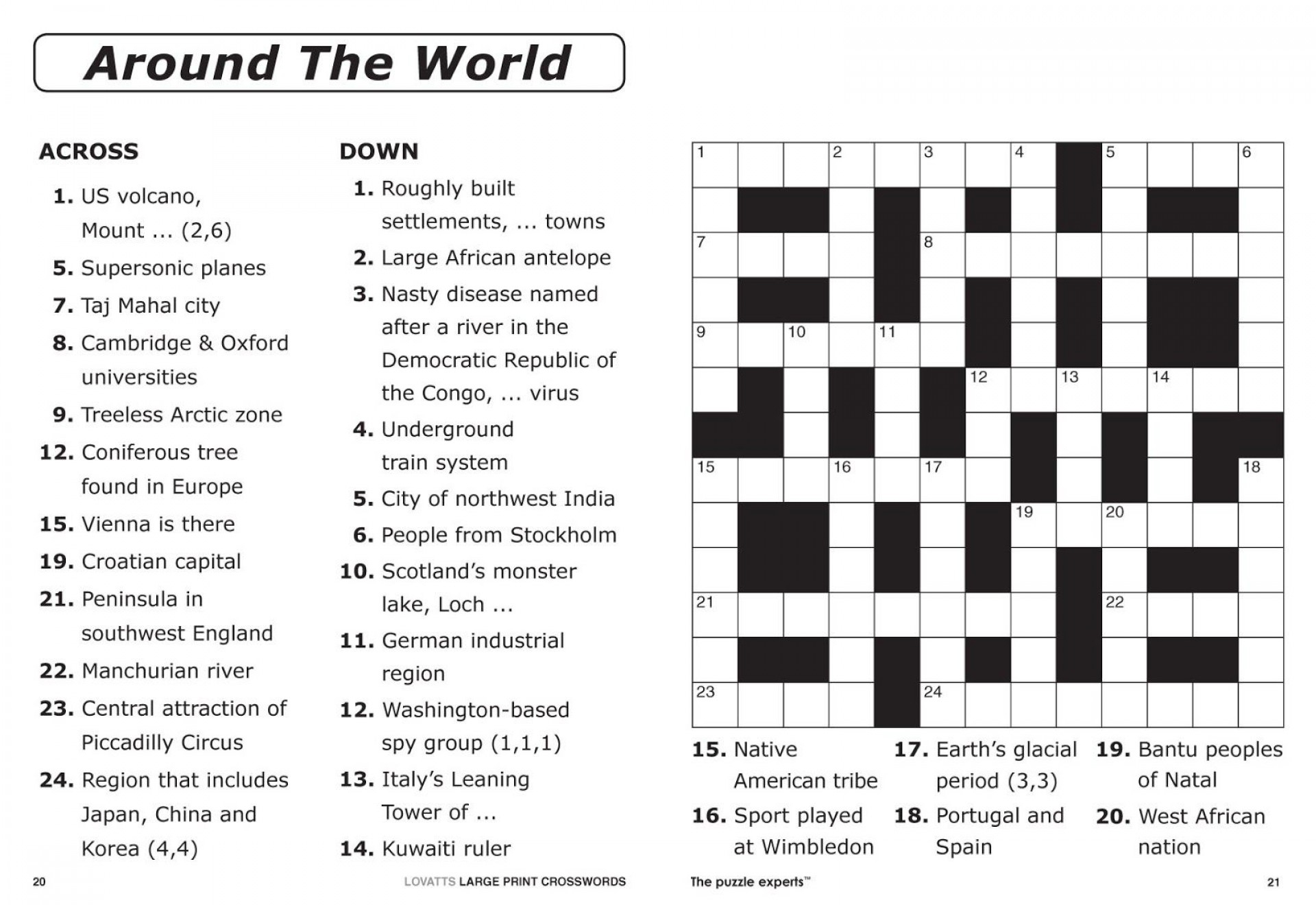 Crossword Puzzle Printable Large Print Crosswords ~ Themarketonholly - Free Printable Quick Crossword Puzzles