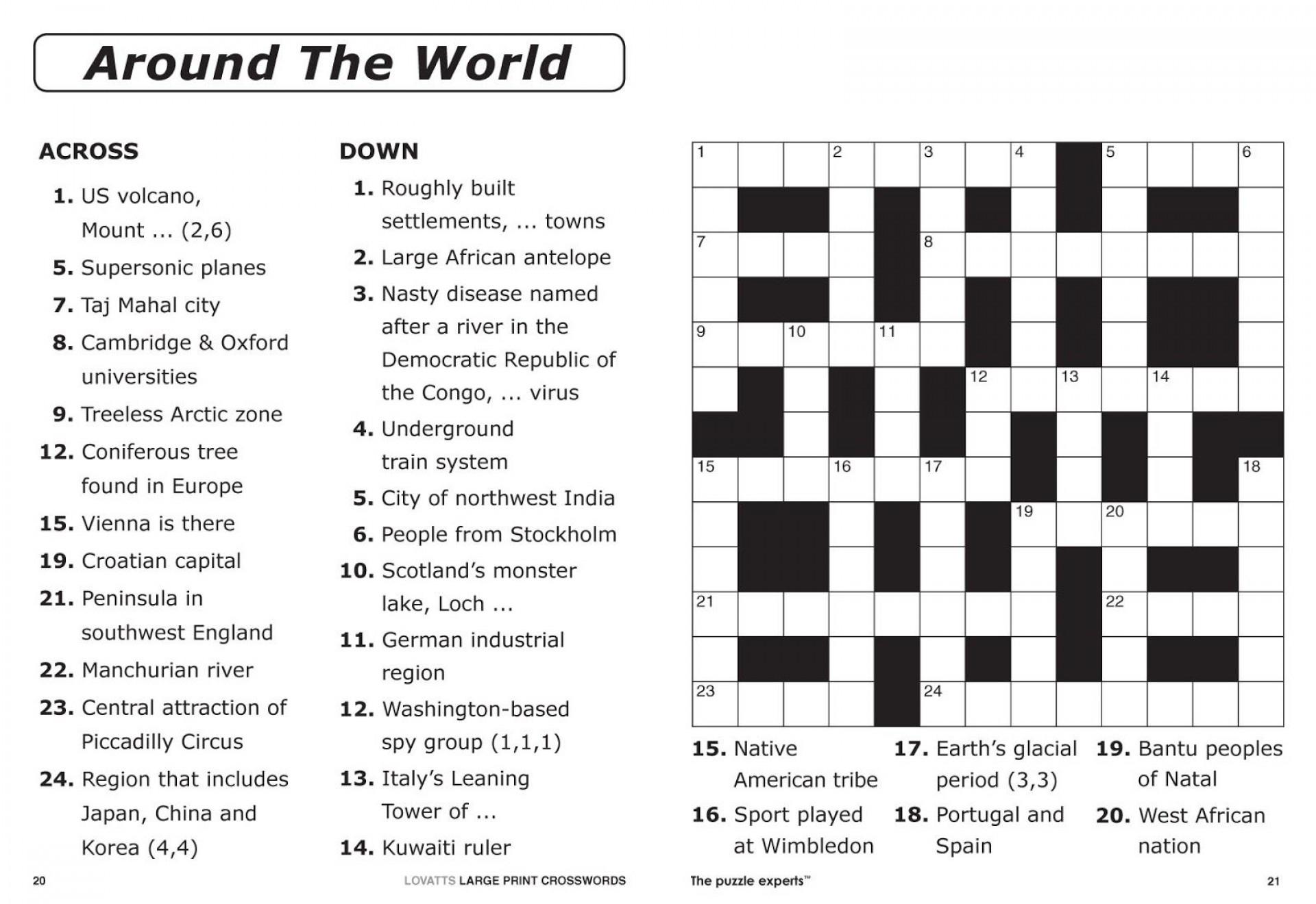 Crossword Puzzle Printable Large Print Crosswords ~ Themarketonholly - Printable German Crosswords