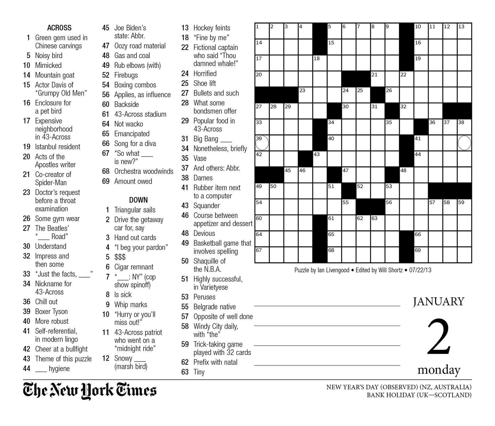 Crossword Puzzle Printable New York Times Crosswords - Printable Crossword Puzzles Ny Times