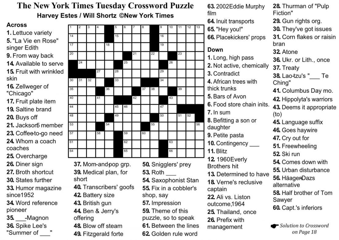 Crossword Puzzle Printable Ny Times Syndicated Answers - Free - Crossword Puzzles And Answers Printables