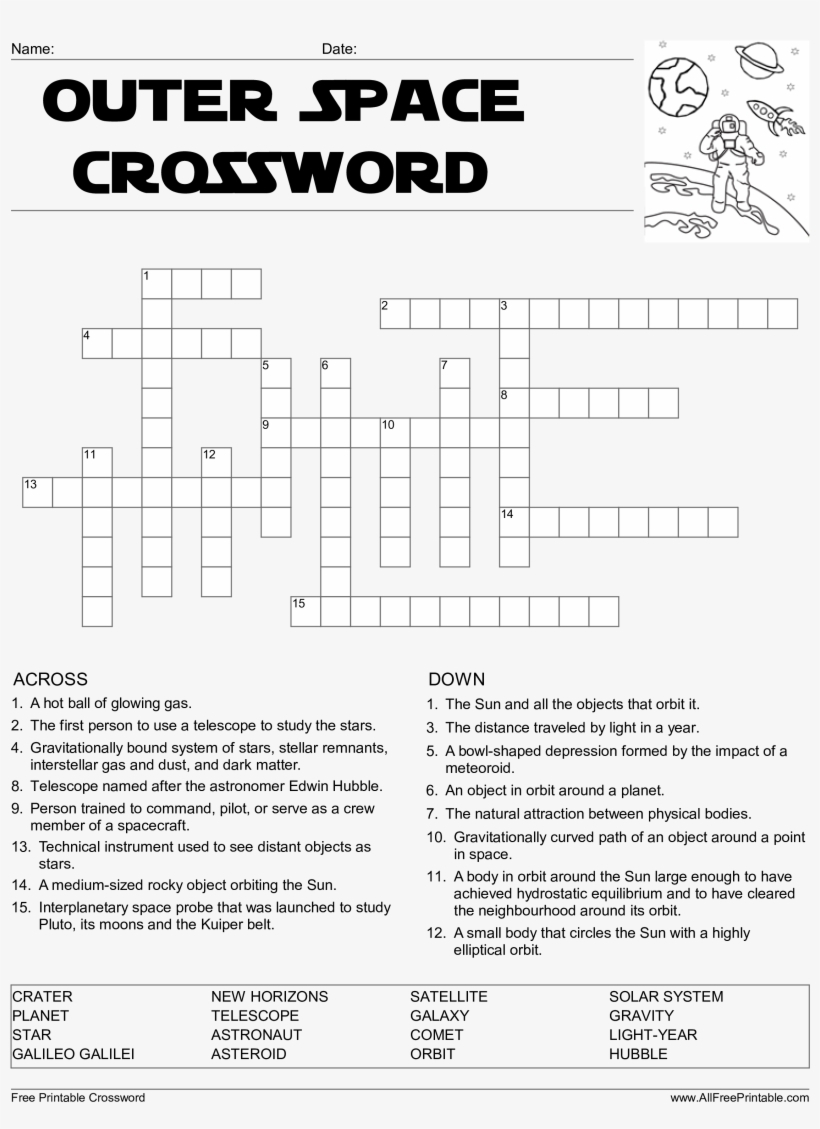 Crossword Puzzle Printable Template Crosswords Lovely - Outer Space - Printable Telegraph Crossword