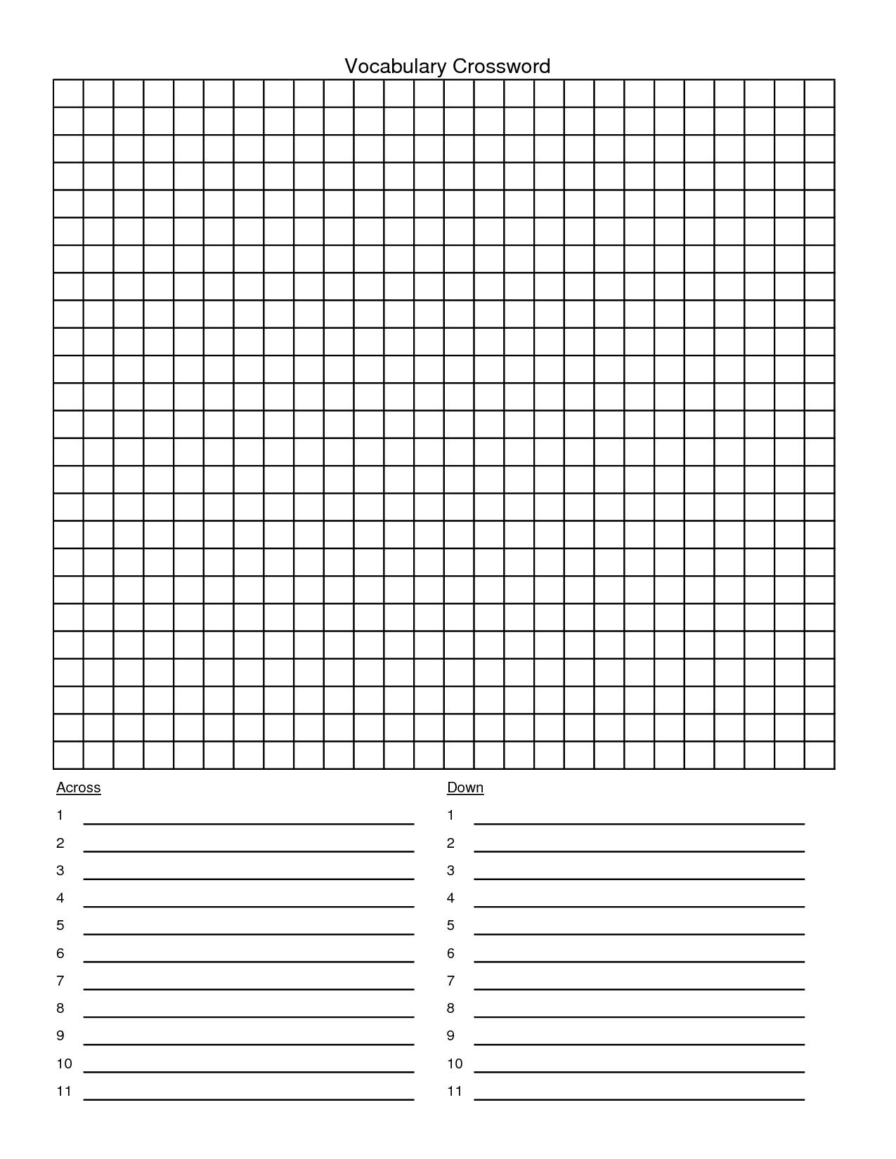 Crossword Puzzle Template - Yapis.sticken.co - Custom Crossword Puzzle Printable