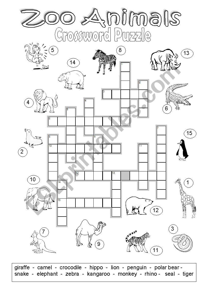 Crossword Puzzle Zoo Animals - Esl Worksheetmarylin - Zoo Crossword Puzzle Printable