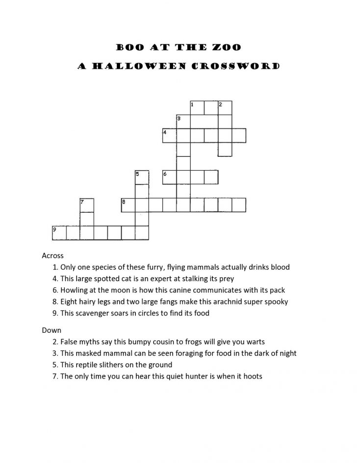 Printable Crossword Puzzles For 8Th Graders