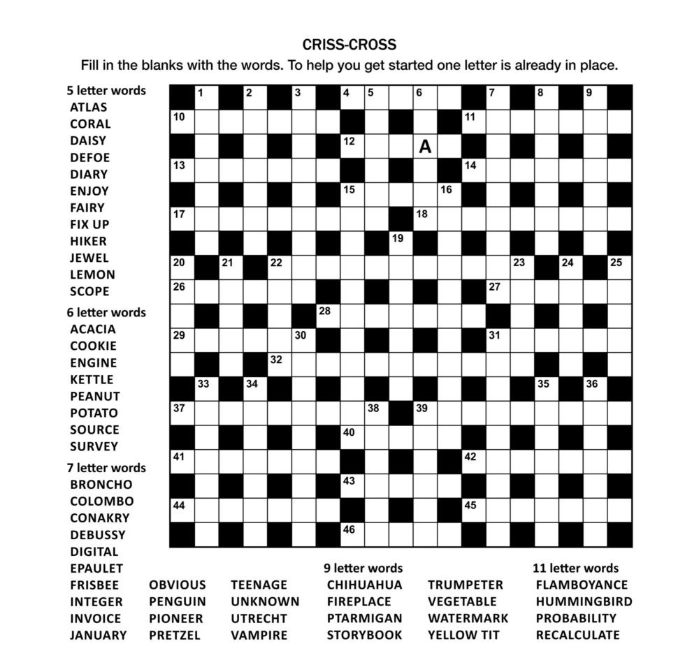Crossword Puzzles - Printable Crossword Puzzles In Afrikaans