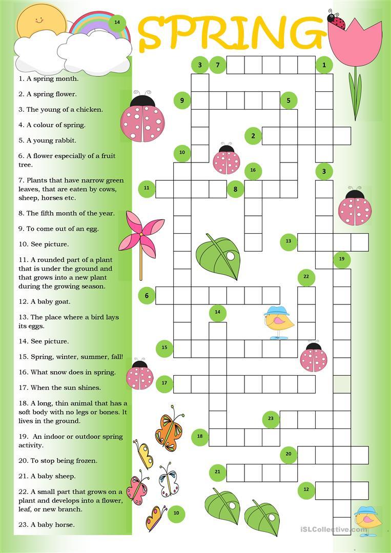 Crossword Spring Worksheet - Free Esl Printable Worksheets Made - Printable Spring Puzzle