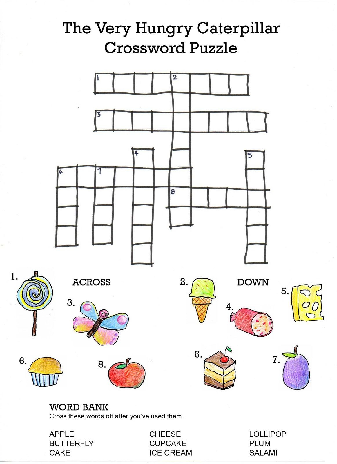 Crossword To Practice. Food | Storybook Activities | Hungry - Printable Crossword Puzzle For Kindergarten