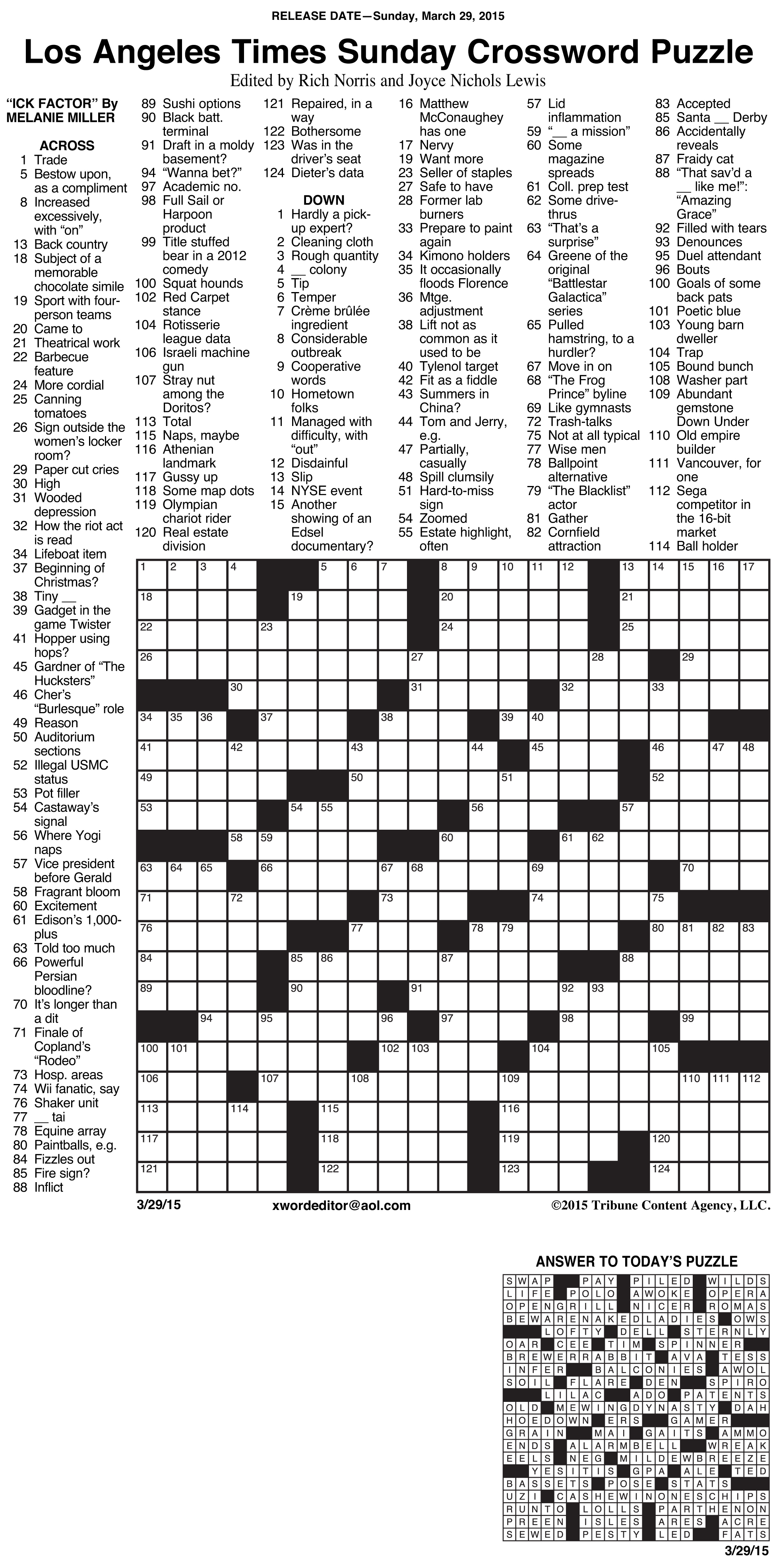 Crosswords Archives | Tribune Content Agency - La Times Printable Crossword Puzzles July 2018
