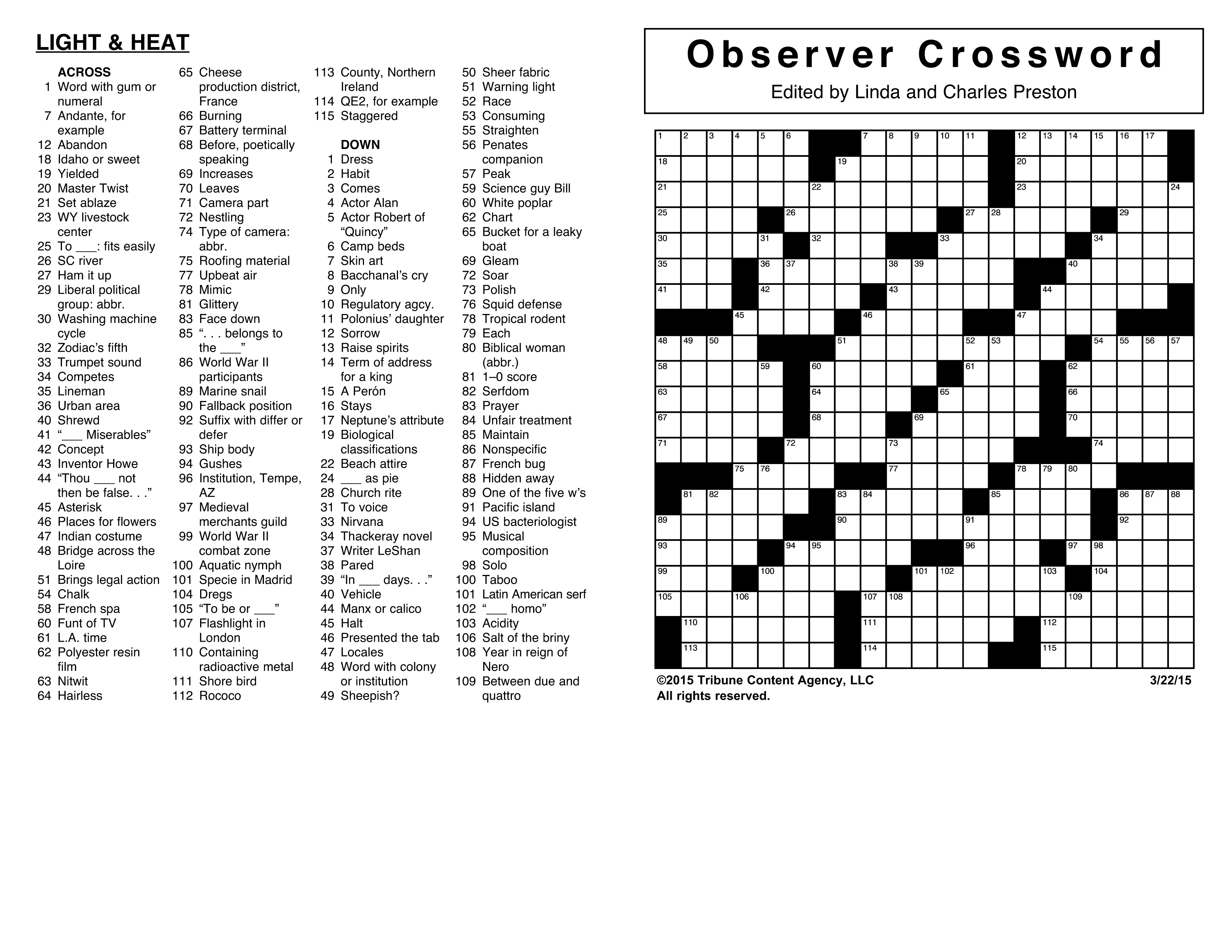 Crosswords Archives | Tribune Content Agency - Printable Commuter Crossword Puzzle