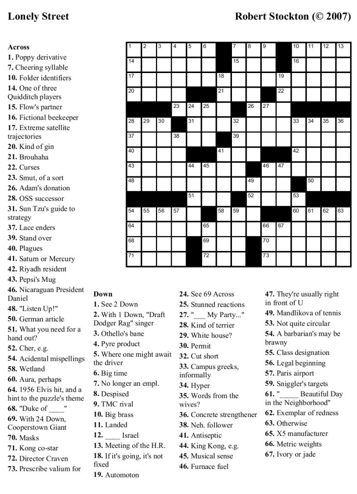 Printable Crossword Puzzles For Adults Hard