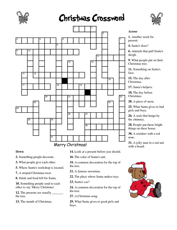 Crosswords For Kids Christmas   K5 Worksheets   Christmas Activity - Printable Crossword Christmas