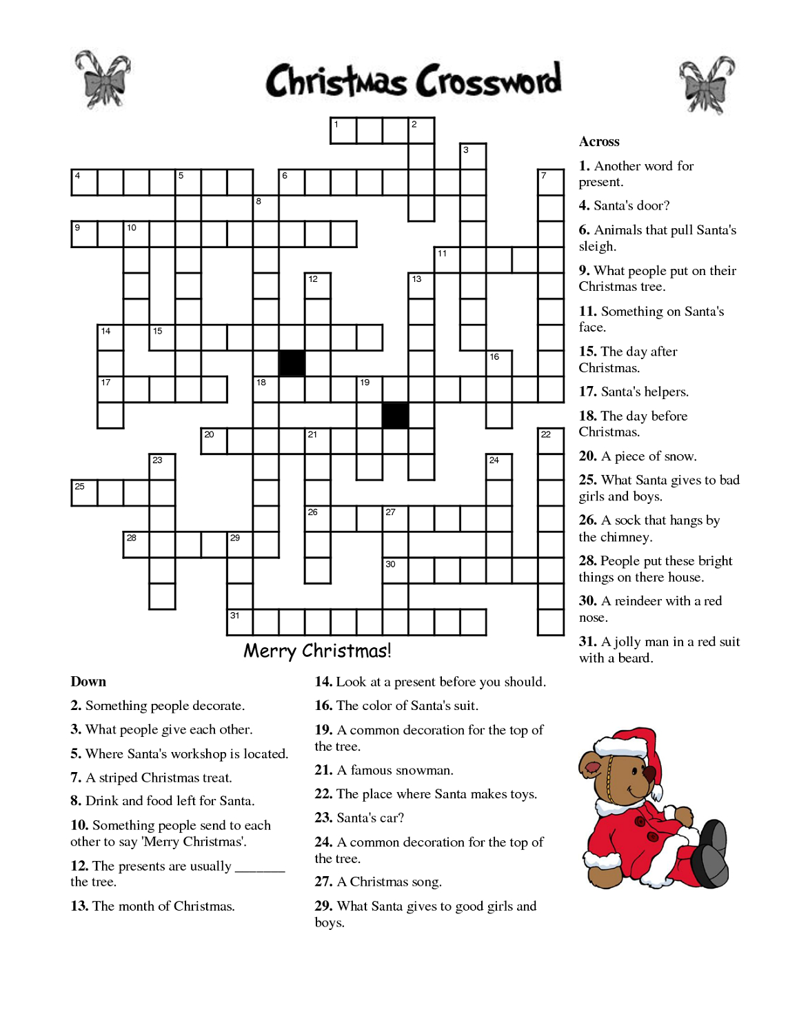 Crosswords For Kids Christmas | K5 Worksheets | Christmas Activity - Printable Crossword Puzzles Simple Present