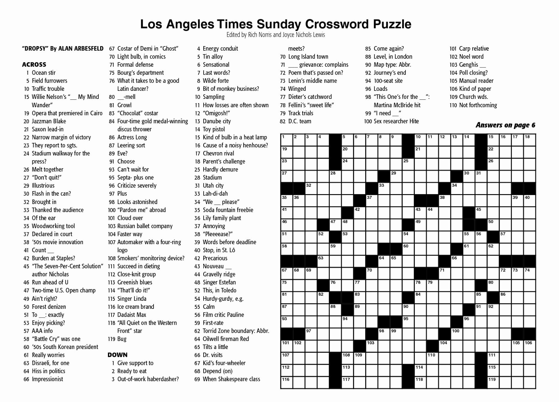 Crosswords Sunday Crossword Puzzle Printable ~ Themarketonholly - Printable Crossword La Times