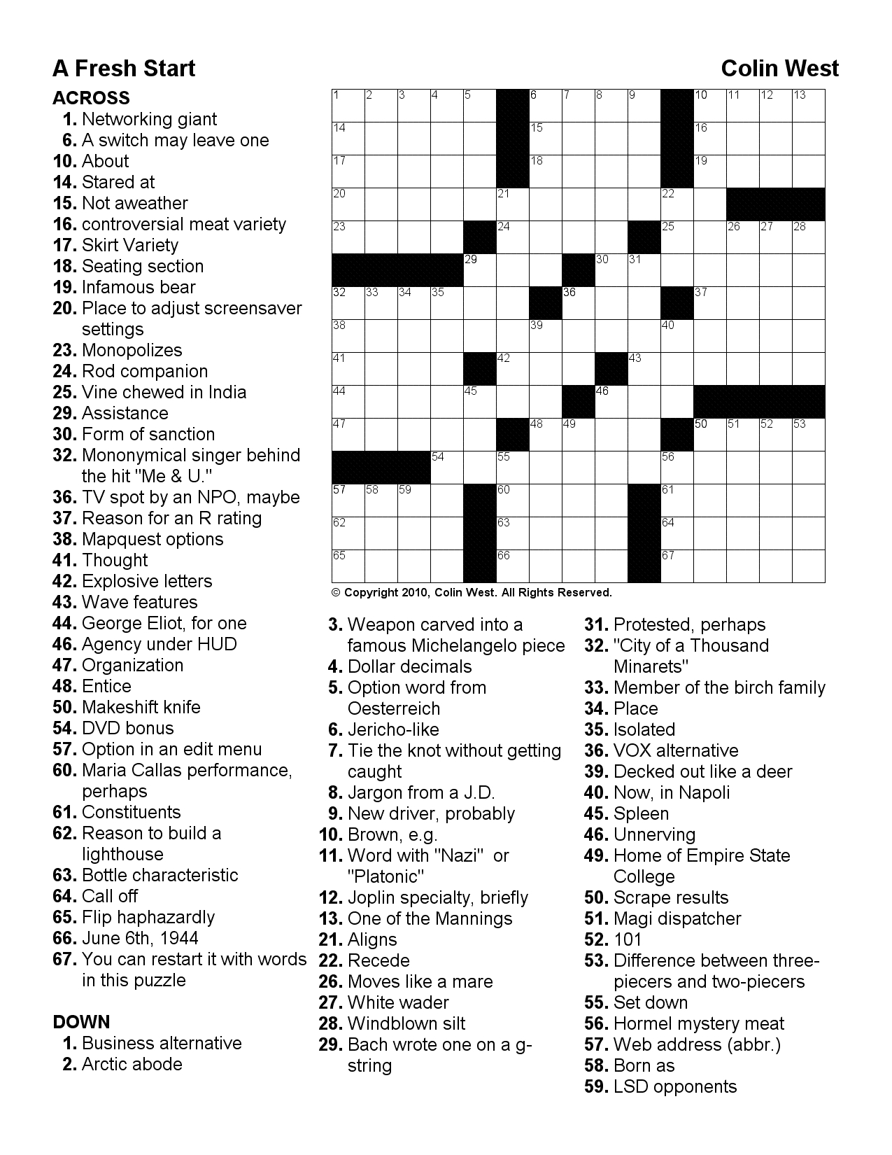 Crosswords | Wlog Blog - Printable Crossword Puzzles 2010