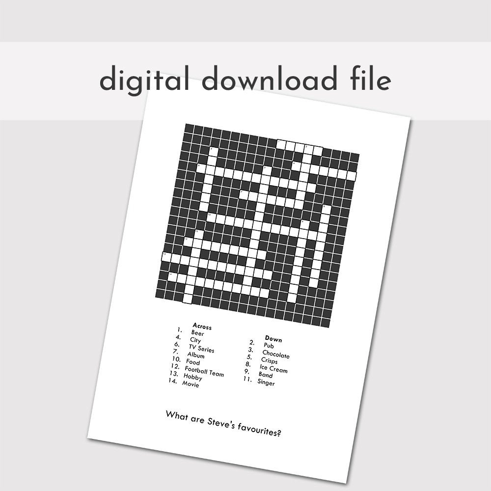 Custom Crossword Puzzle Printable Blank Crossword Digital | Etsy - Printable Canadian Crossword