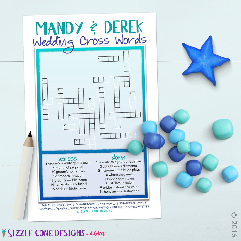 Custom Wedding Crossword Puzzle Game Printable #219 | Member Board - Free Printable Bridal Shower Crossword Puzzle