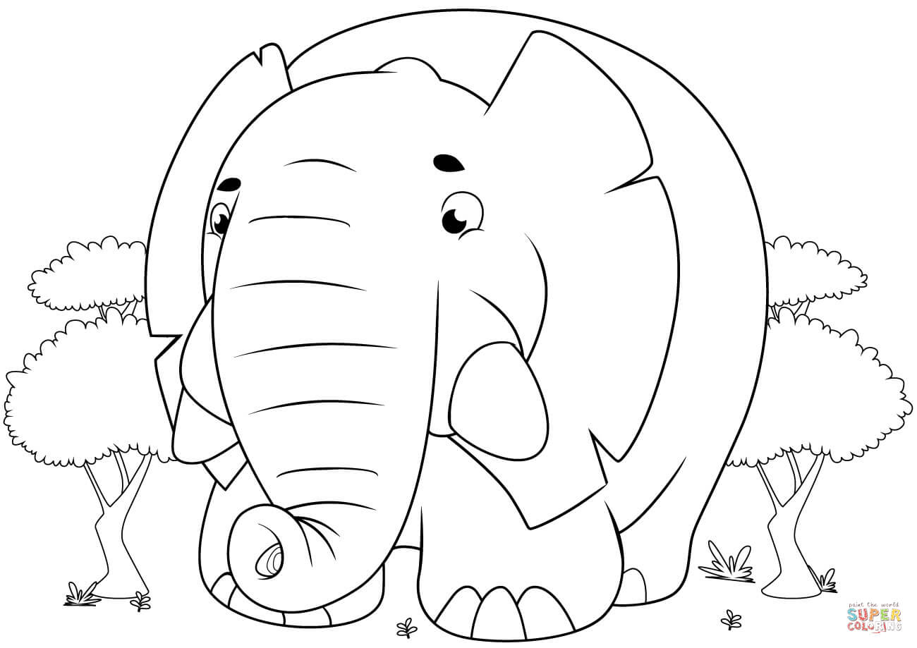 Cute Cartoon Elephant Coloring Page   Free Printable Coloring Pages - Printable Elephant Puzzle