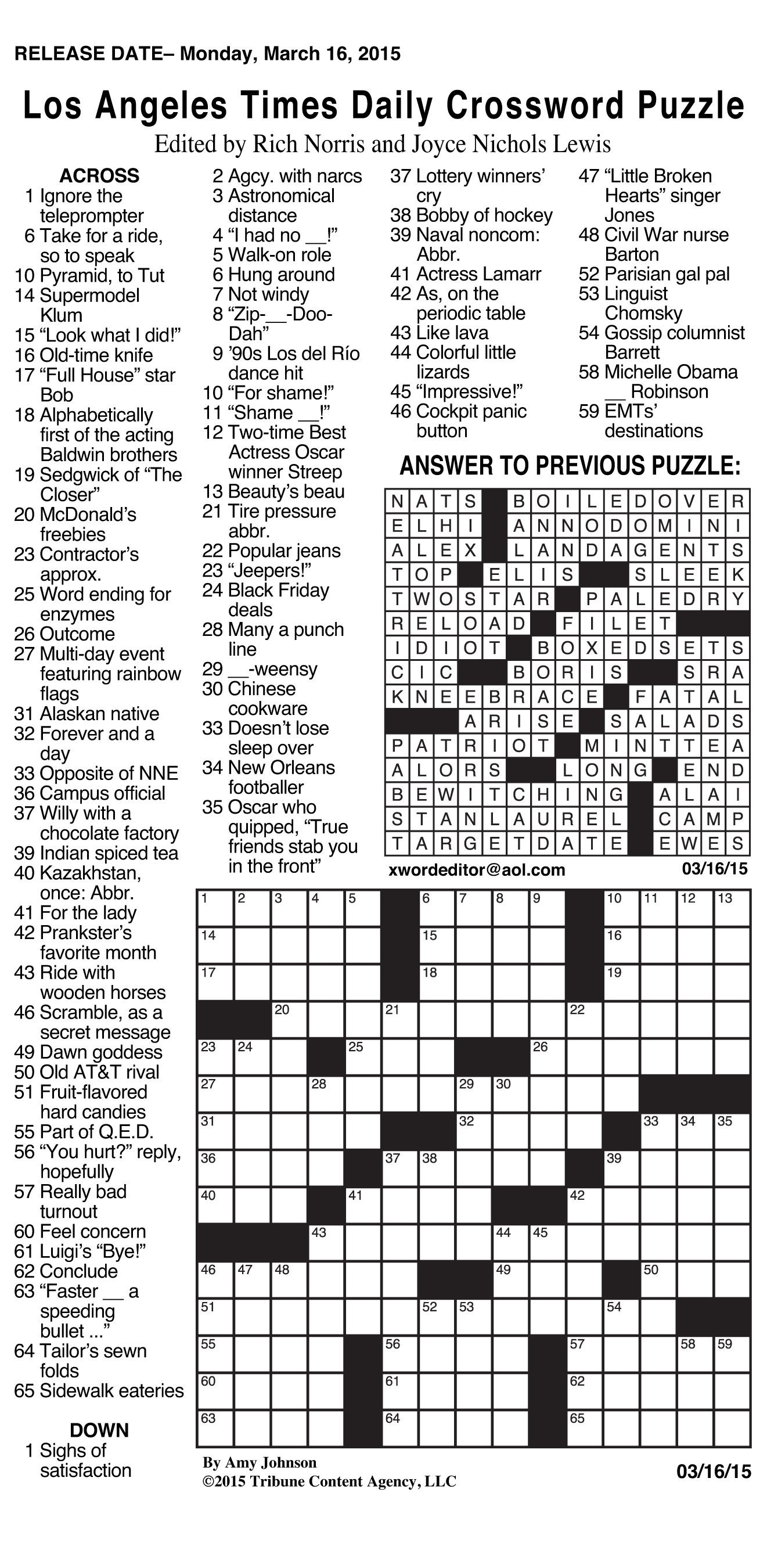 Daily Crossword Puzzle Printable – Jowo - Free Daily Printable - The Daily Printable Crossword Puzzles