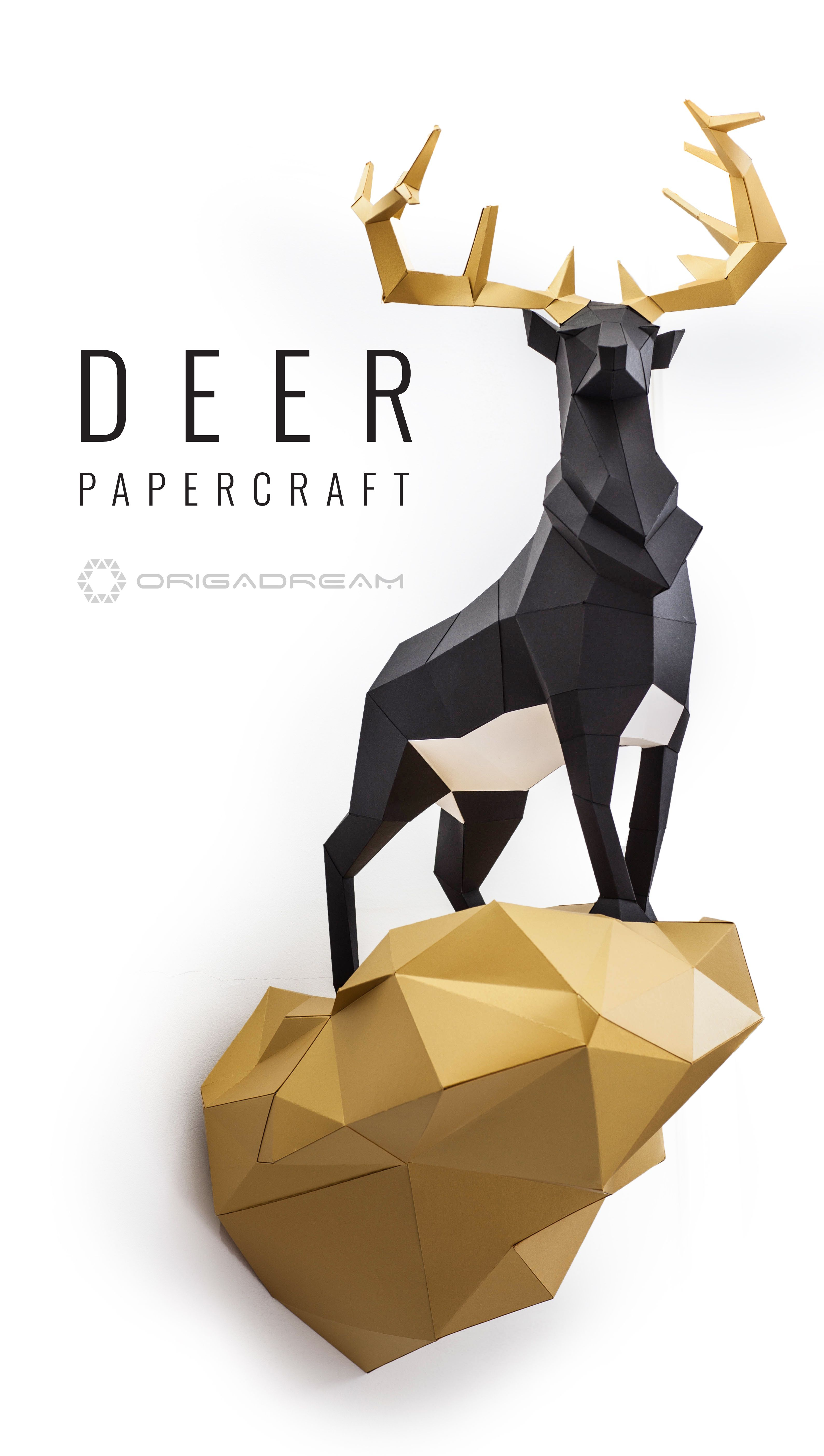 Deer #papercraft #paper #craft #diy #sculpture #decor #homedecor - Printable Origami Puzzle