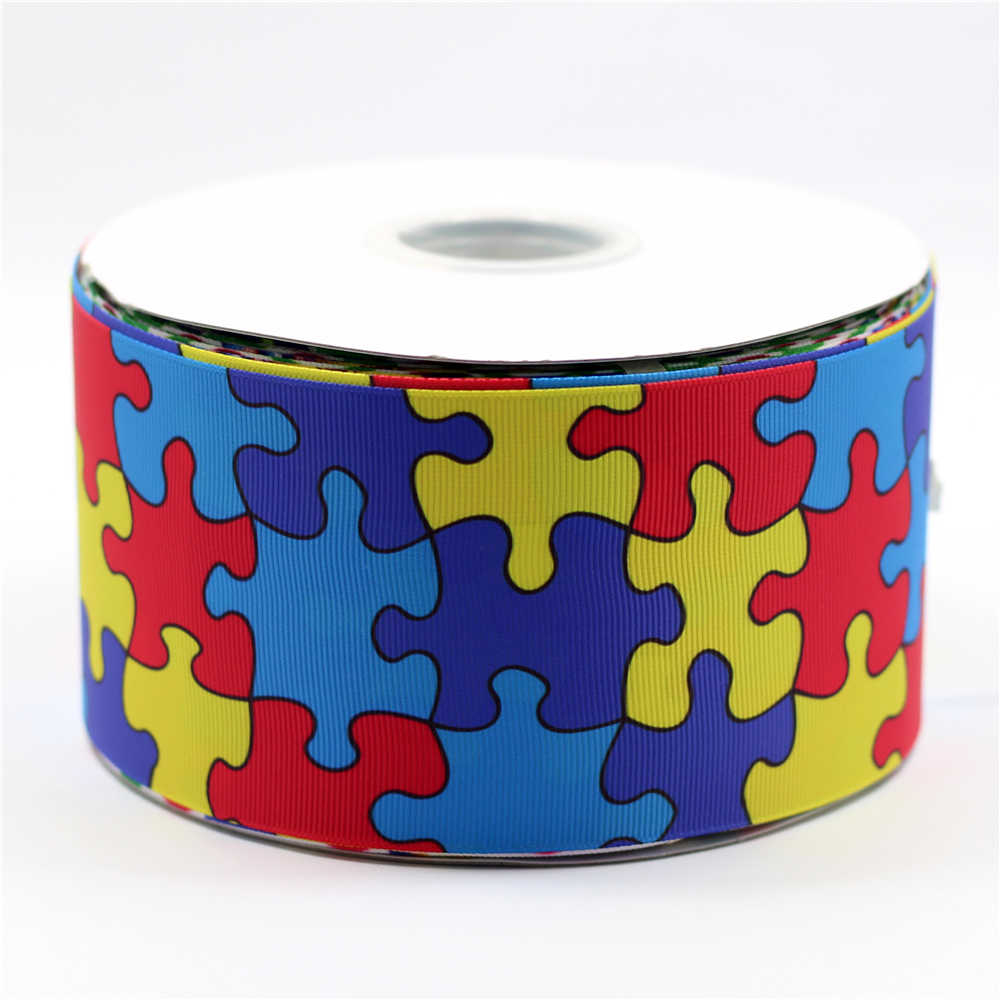 "Detail Feedback Questions About 3""75Mm Autism Awareness Printed - Puzzle Print Ribbon"
