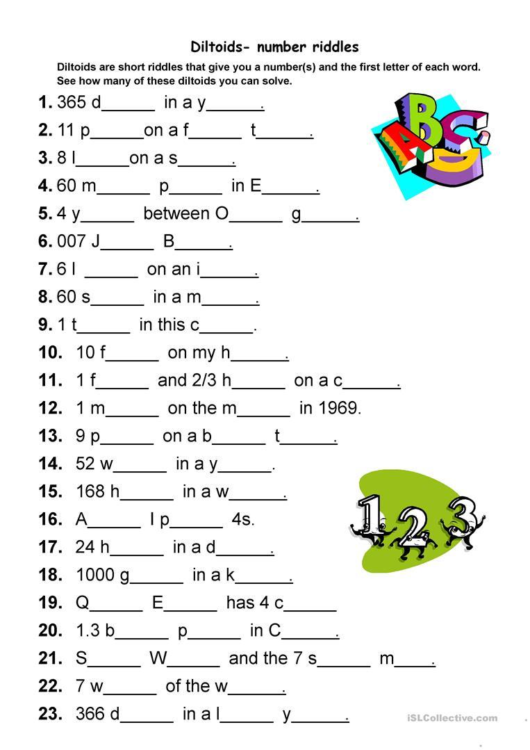 Diltoids- Number/letter Puzzles Worksheet - Free Esl Printable - Printable Esl Puzzles