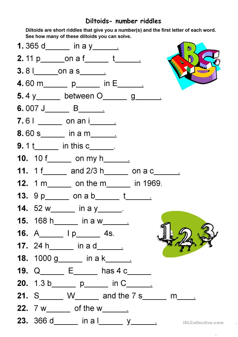 Diltoids- Number/letter Puzzles Worksheet - Free Esl Printable - Printable Letter Puzzle