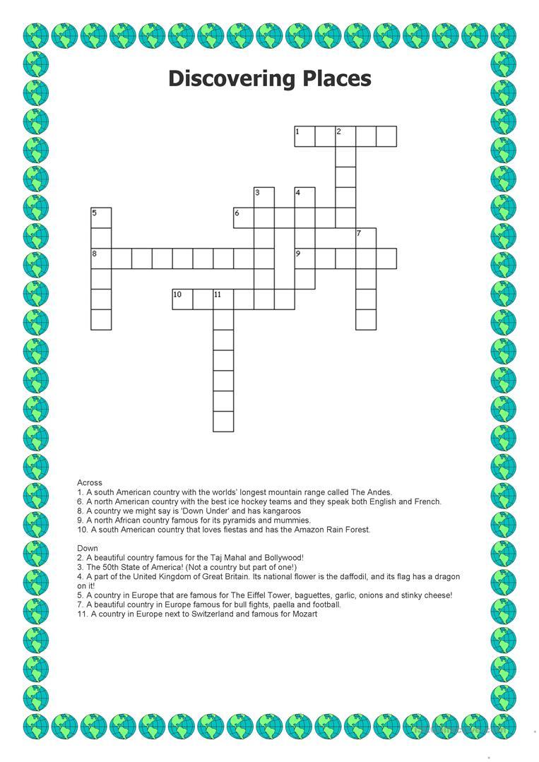 Discovering Places - Crossword Worksheet - Free Esl Printable - Printable Hockey Crossword