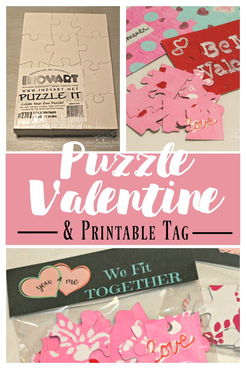 Diy Puzzle Valentine - What Treasures Await - Printable Diy Puzzle