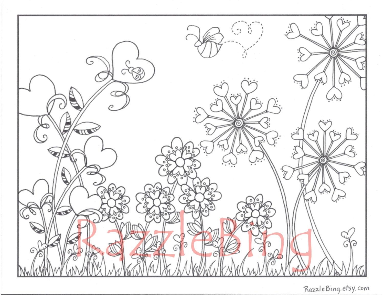 Diy Valentine's Day Printable Coloring Page-Zentangle | Etsy - Printable Razzle Puzzles