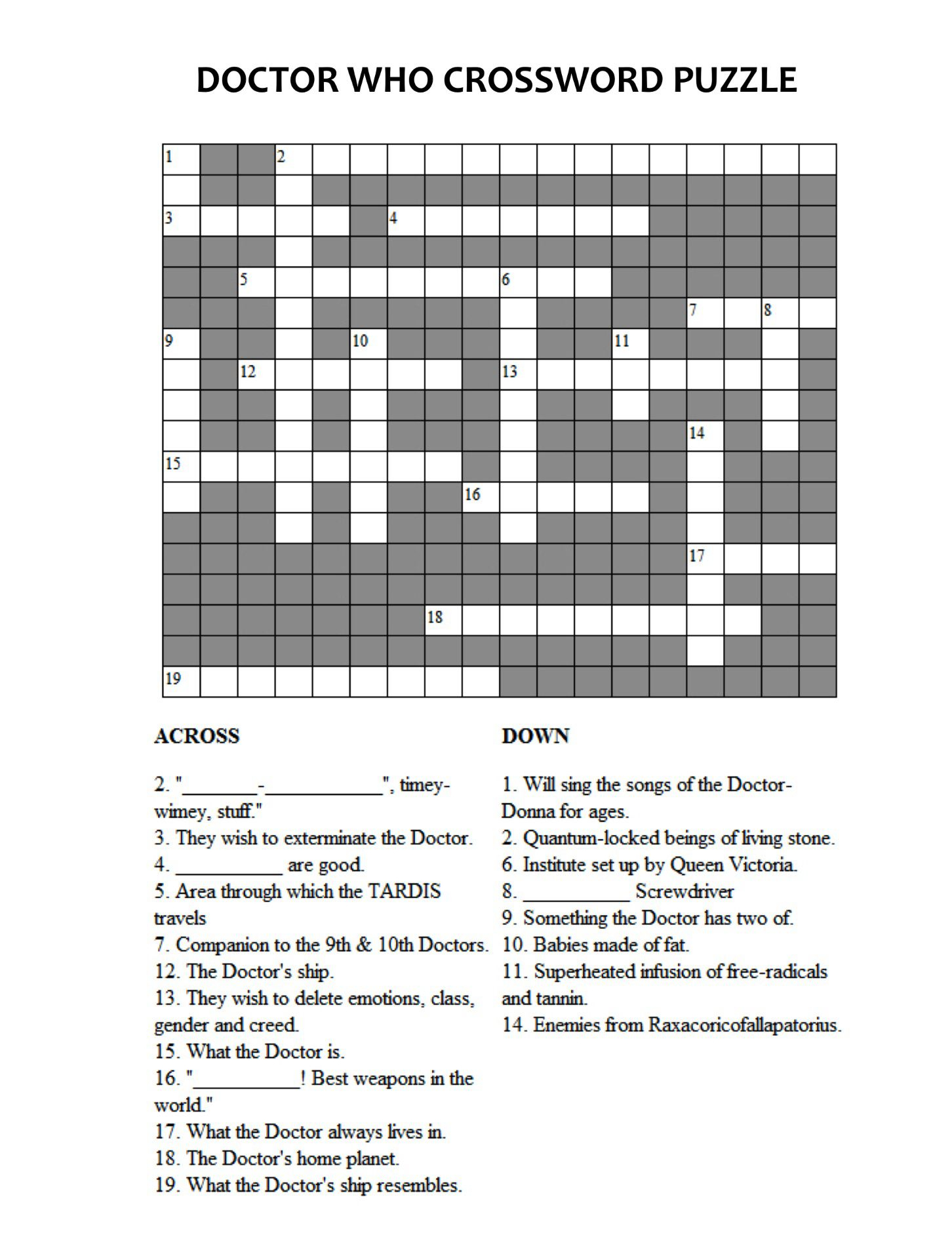 Doctor Who Crossword Puzzle | Doctor Who | Doctor Who, Dr Who - Printable Epiphany Crossword Puzzle