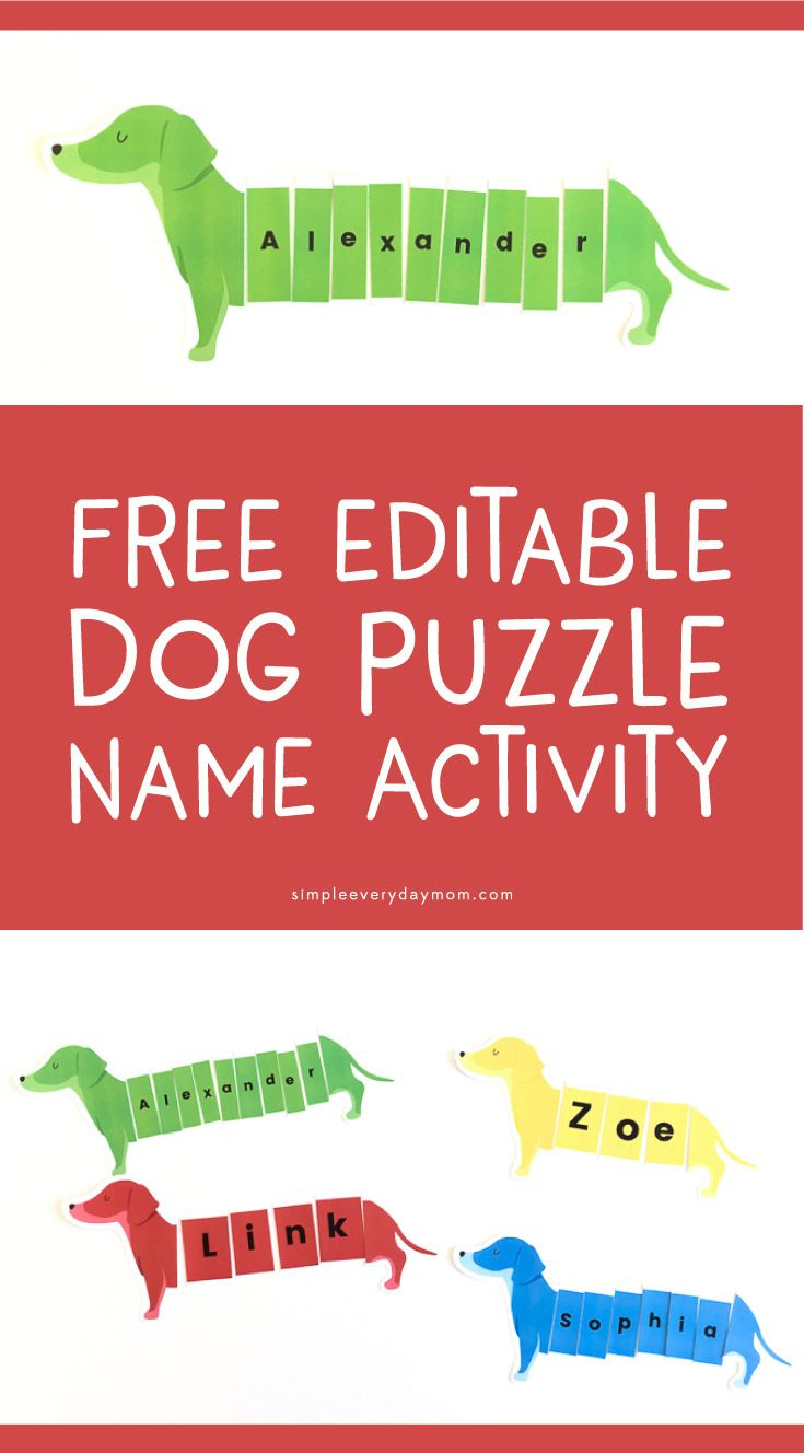 Dog Puzzle Name Activity | *free Printables For Kids From Simple - Free Printable Dog Puzzle