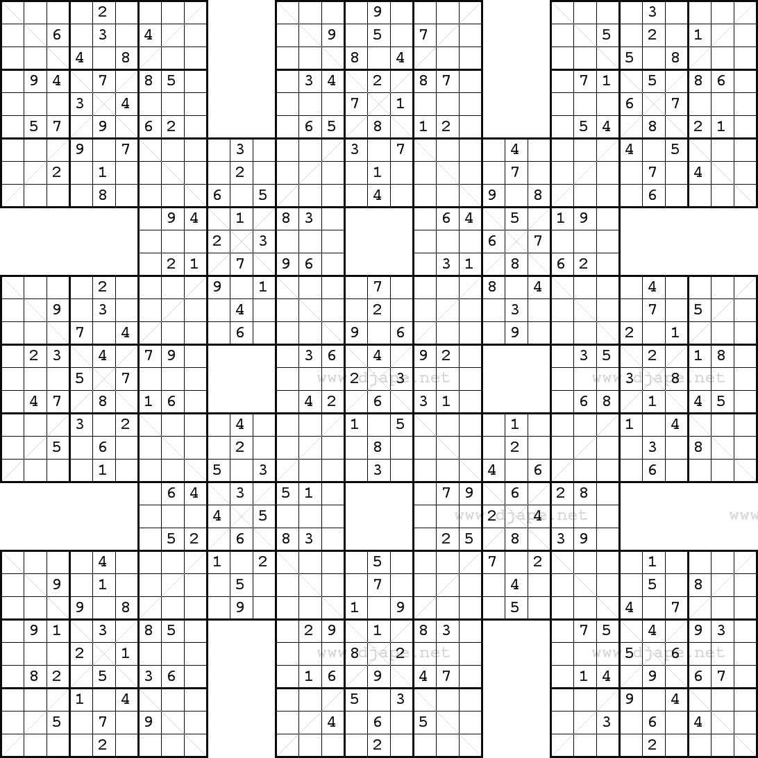 Double Harakiri Sudoku X - Printable Sudoku X Puzzles